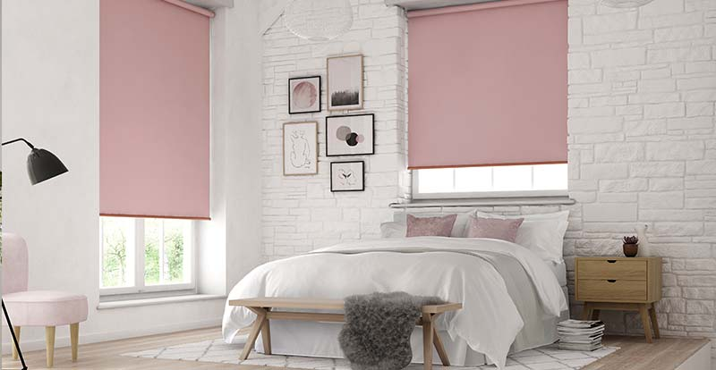 Pink Roller Blinds in a bedroom