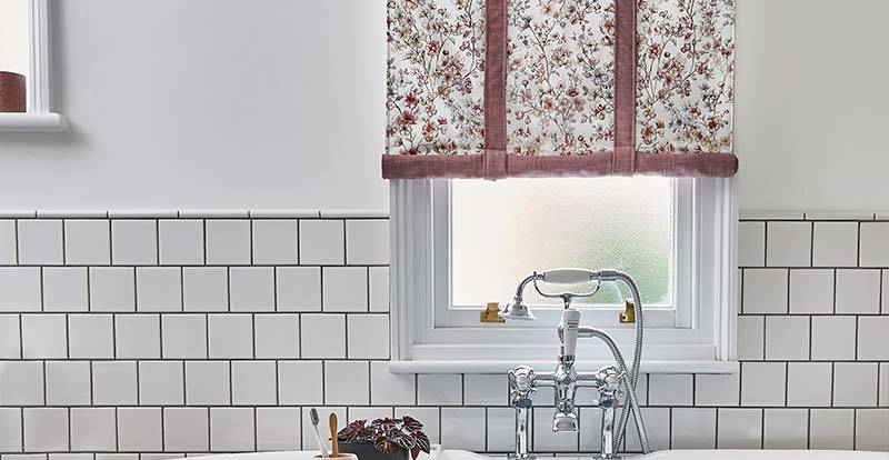Pink Patterned Roman Blind