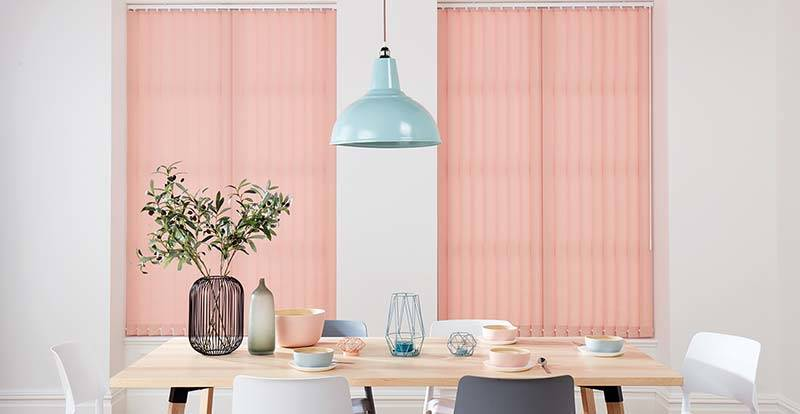 Pink Vertical Blinds in a dining room