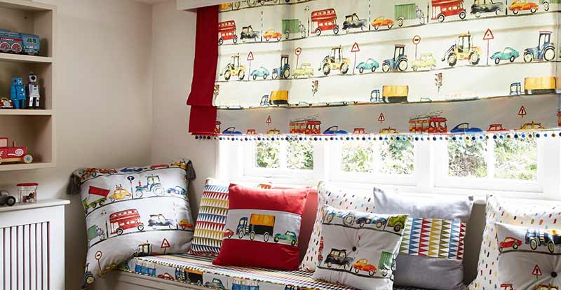 On the Road Roman Blind in a Children's room