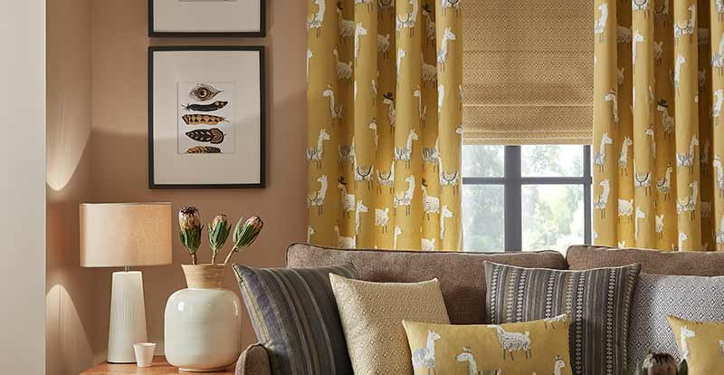 Thermal Yellow aztec roman blind in a living room.