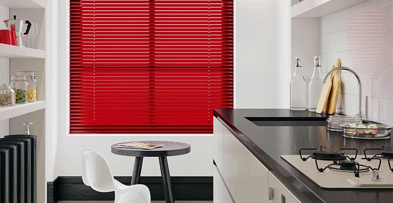 Red Venetian in a kitchen