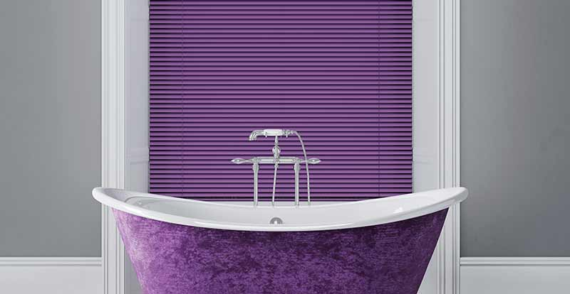 Purple Venetian Blind in a bathroom