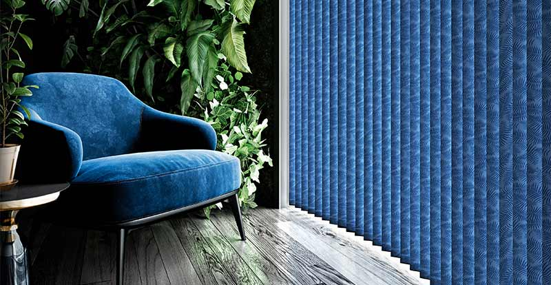 Blue patterned Vertical Blinds