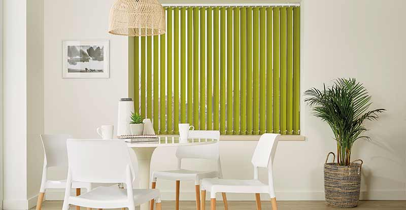 Green Vertical Blinds in a Kitchen