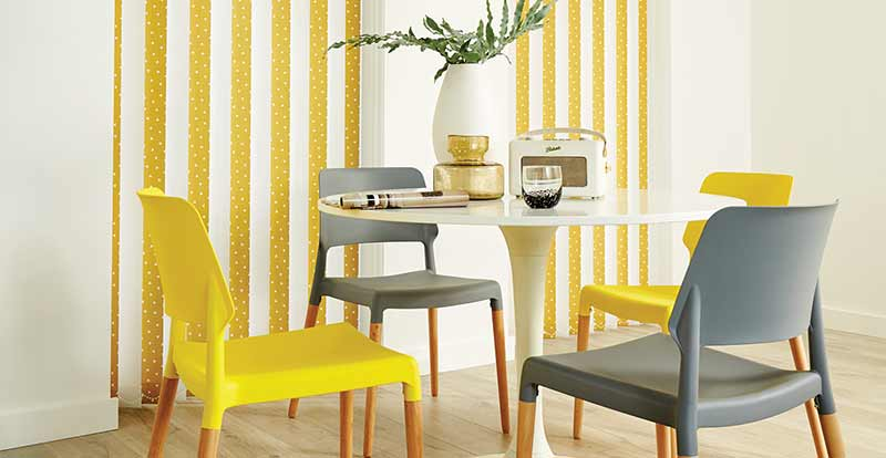 Pico Yellow Vertical Blind mixed with White Slats in a Kitchen