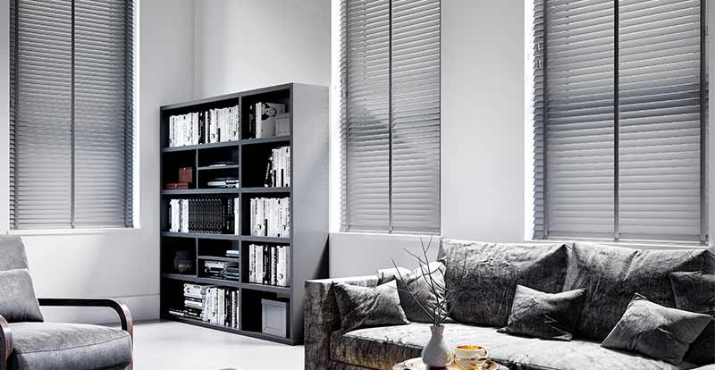 Grey Wooden Blinds with Dark Grey Tape