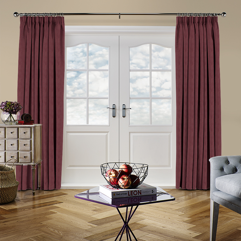 Faux Suede Maroon Curtain Direct Blinds