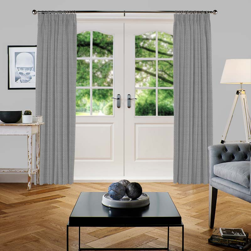 Basket Weave Silver Grey Curtain Direct Blinds