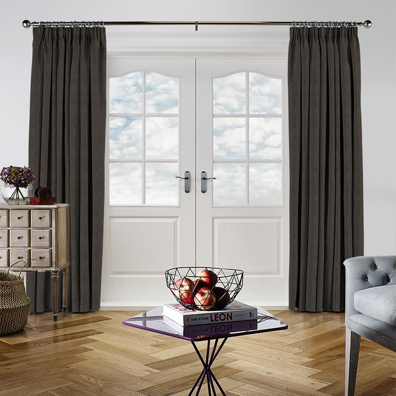 Faux Suede Charcoal Curtain Direct Blinds