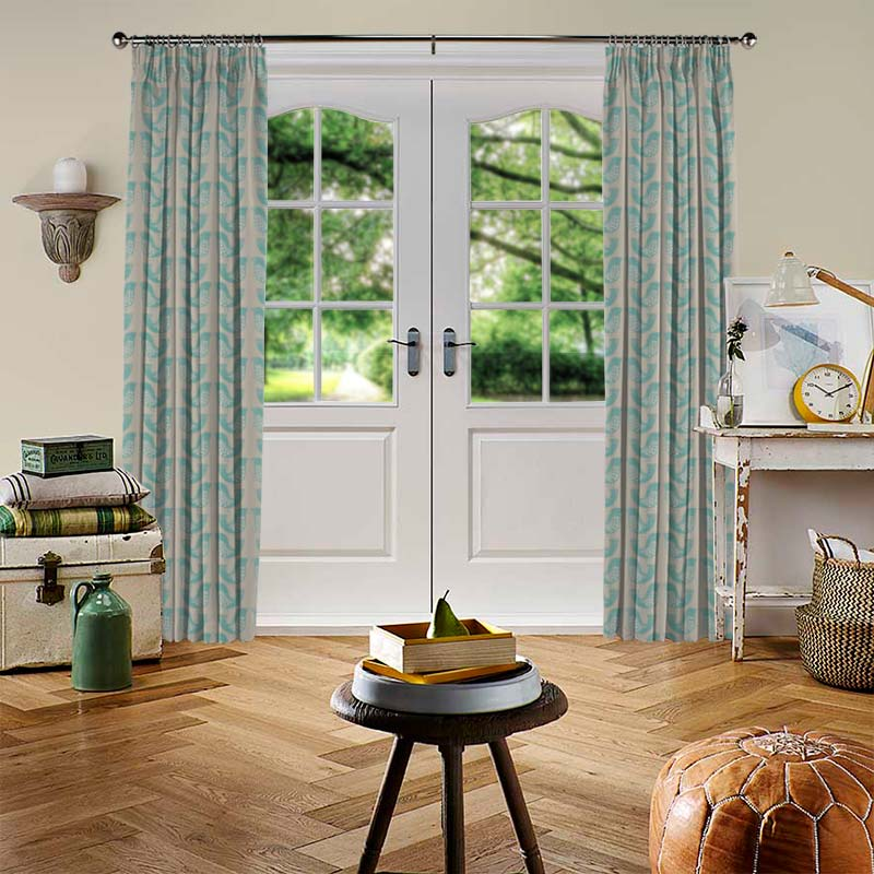 Scandi Birds Aqua Curtain Direct Blinds