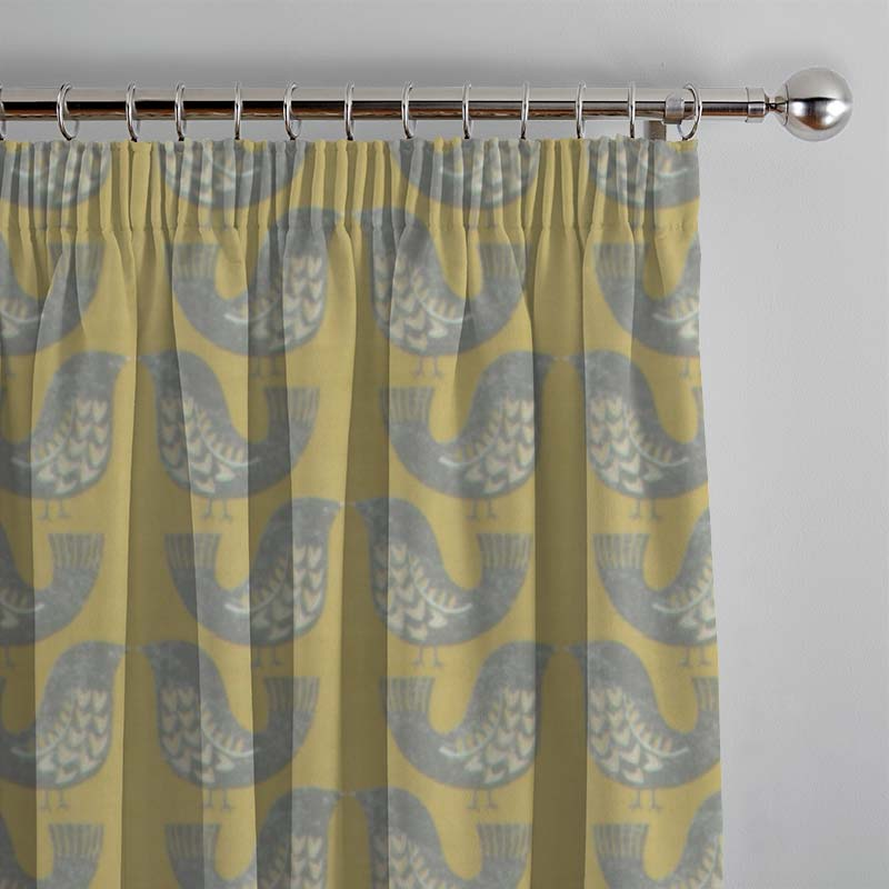 Scandi Birds Mustard Curtain Direct Blinds