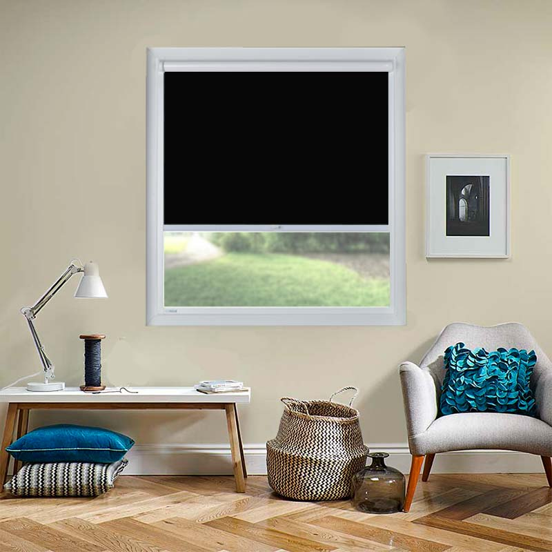 genesis blackout black perfect fit roller blind direct blinds. Black Bedroom Furniture Sets. Home Design Ideas