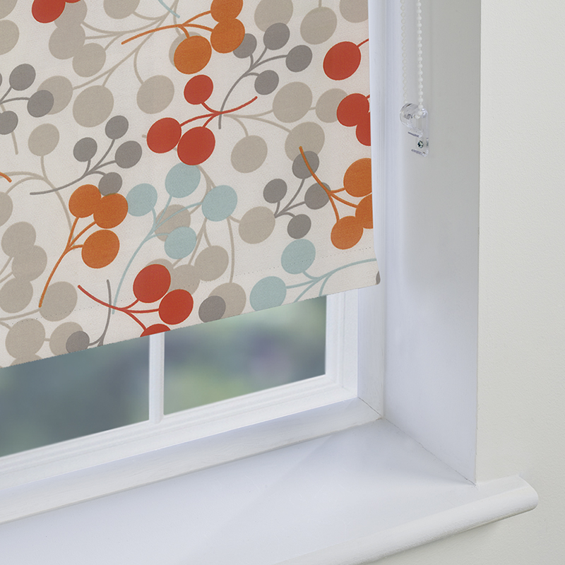 Orange Patterned Roller Blinds Made To Measure From