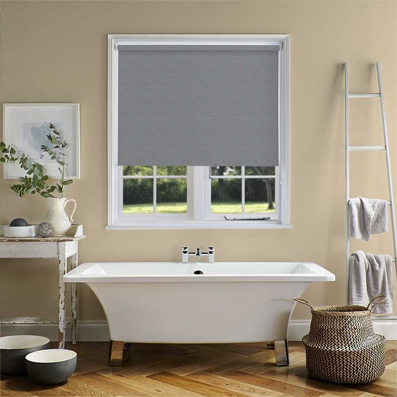 Next Step Living Reviews : Marble PVC Blackout Silver Roller Blind. Direct Blinds