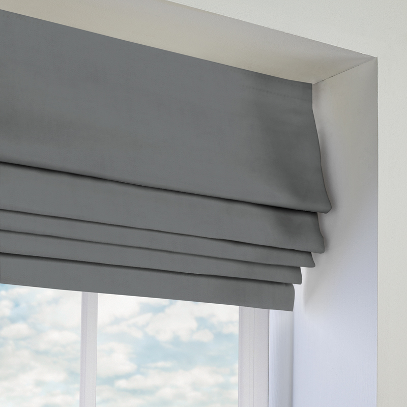 Faux Suede Deluxe New Grey Roman Blind Direct Blinds
