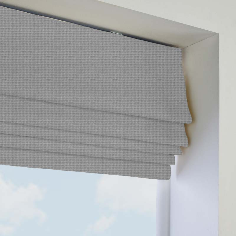 Perfect Basket Weave Silver Grey Roman Blind. Direct Blinds WO53