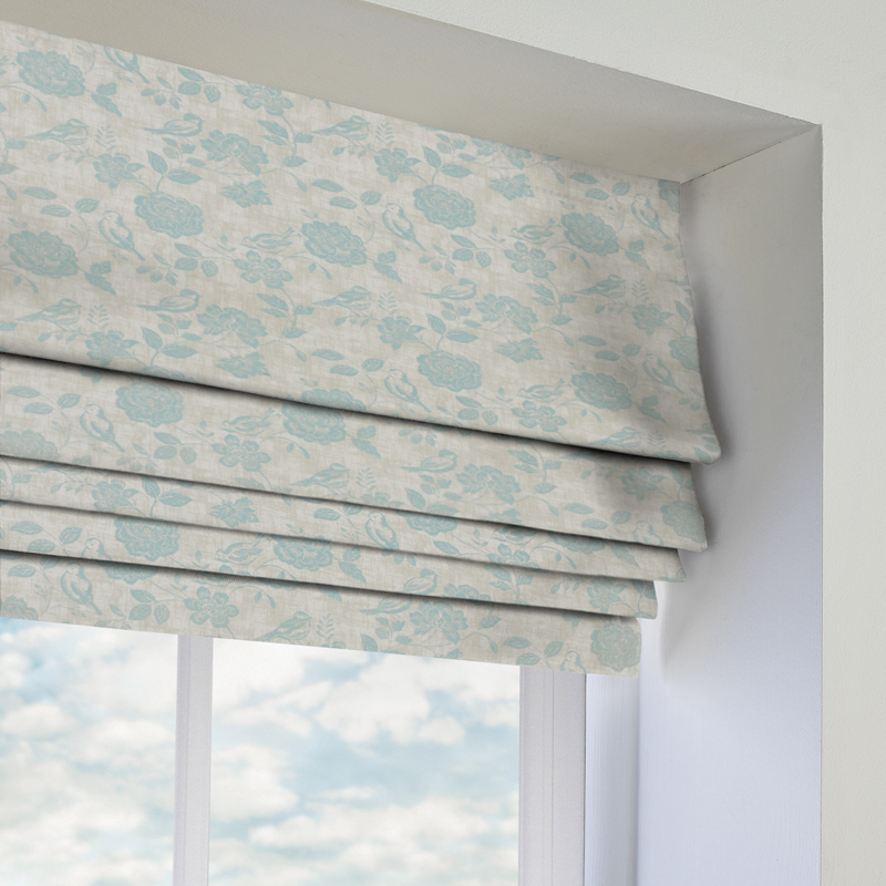 Bird Garden Duckegg Roman Blind Direct Blinds - Roman blinds