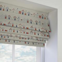 Roman Blinds Seaside Huts Blue