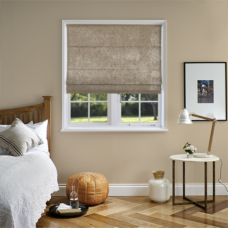 Crushed Velvet Ivory Roman Blind. Direct Blinds