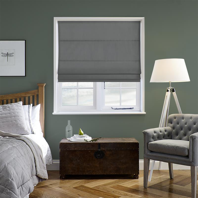 83c371084d Faux Suede Deluxe New Grey Roman Blind. Direct Blinds