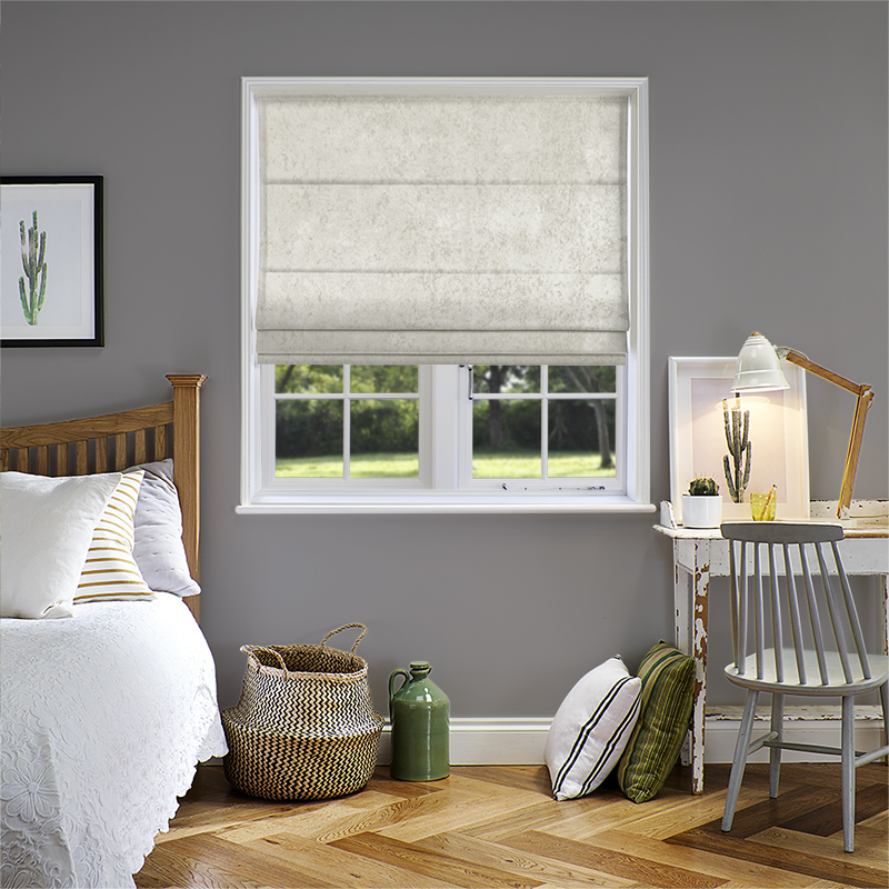 Crushed Velvet White Roman Blind Direct Blinds