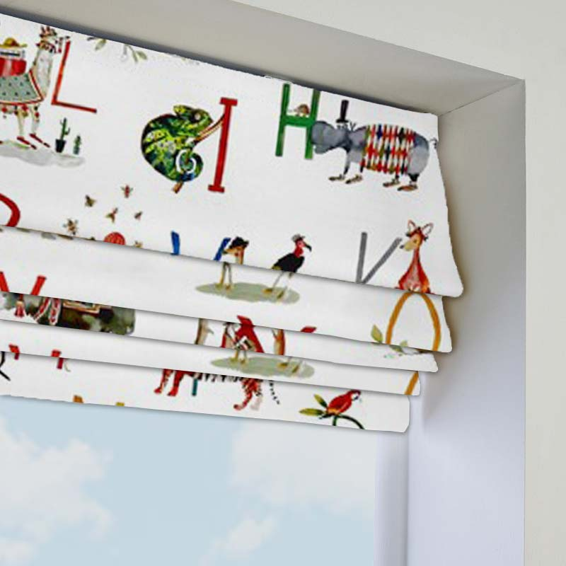 Animal Alphabet Paintbox Roman Blind Direct Blinds