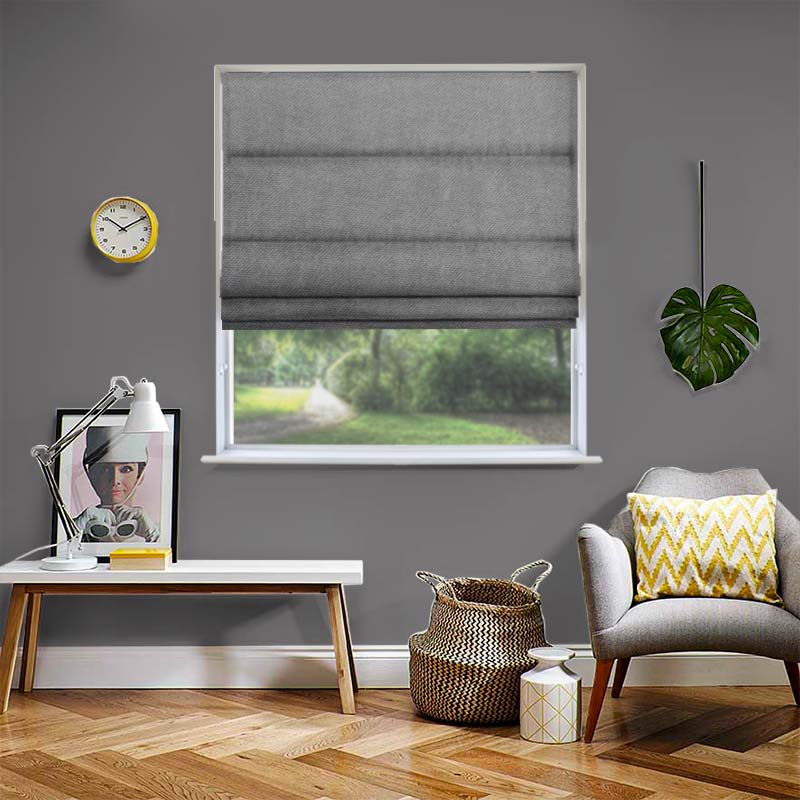 Malta Mid Grey Roman Blind Swift Direct Blinds