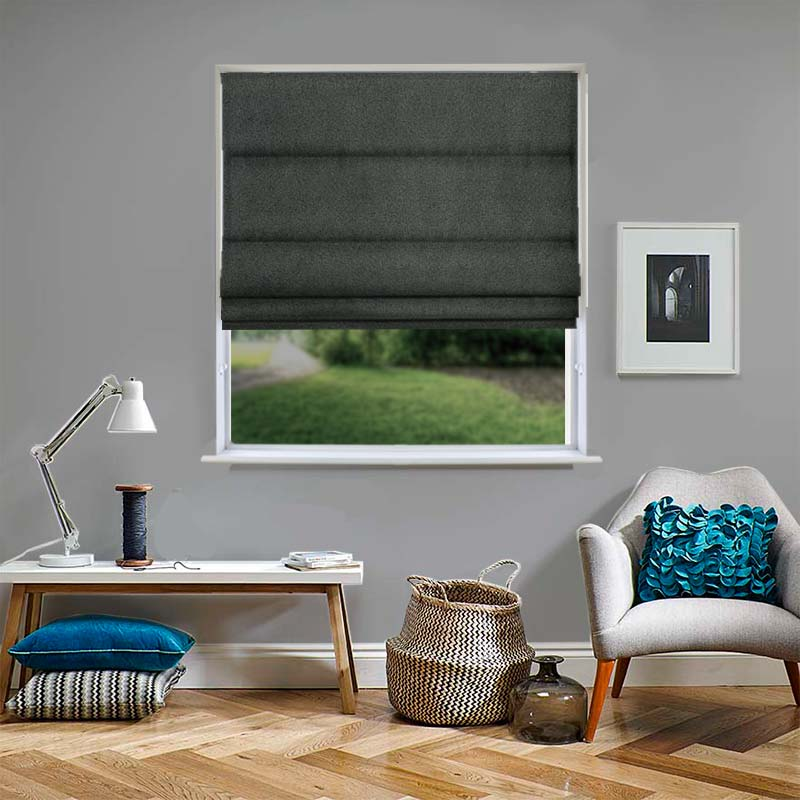 Venice Charcoal Roman Blind Direct Blinds