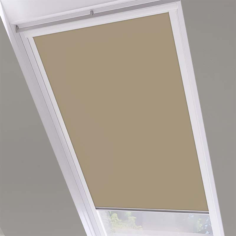 Roof Blinds Luna Blackout Beige - White Frame