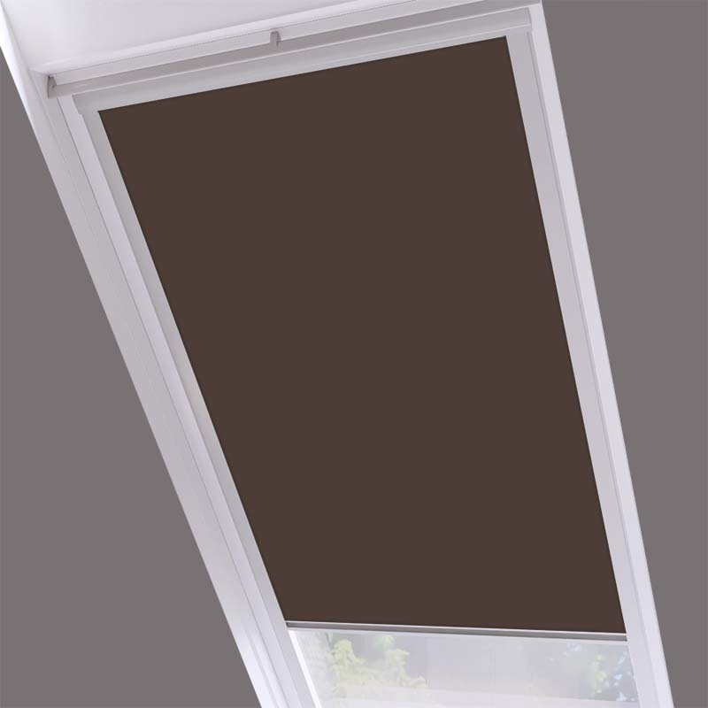 Roof Blinds Luna Blackout Earth Brown - Silver Frame