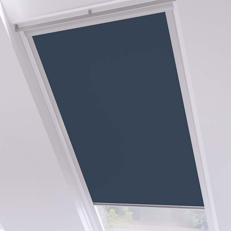 Roof Blinds Luna Blackout Navy - Silver Frame