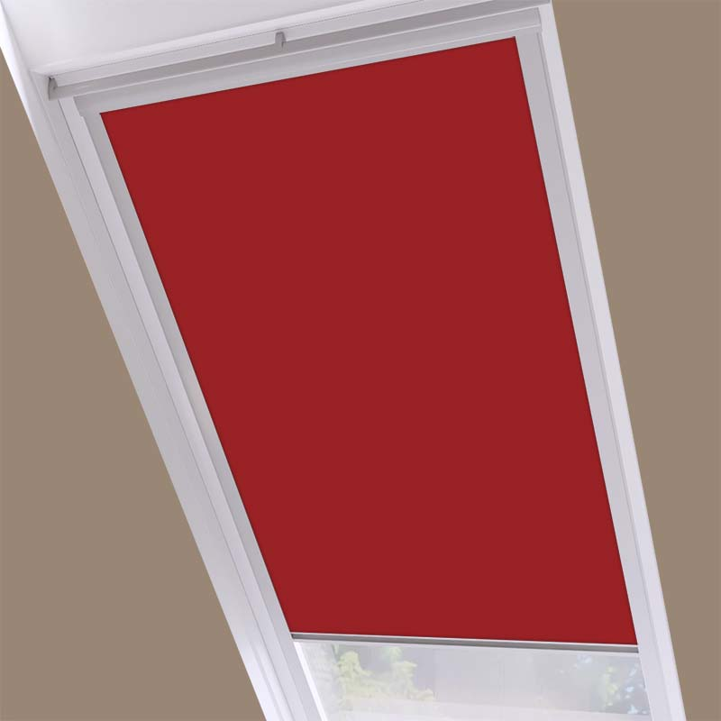 Roof Blinds Luna Blackout Red - Silver Frame