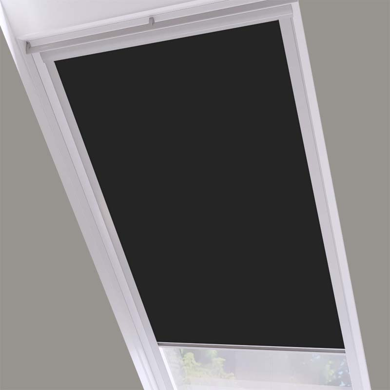 Roof Blinds Luna Blackout Shadow Black - Silver Frame