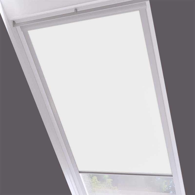 Roof Blinds Luna Blackout White - Silver Frame