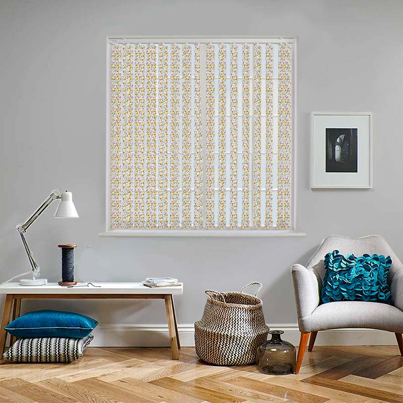 Floating Lilies Mini Cream 89mm Vertical Blind Slats