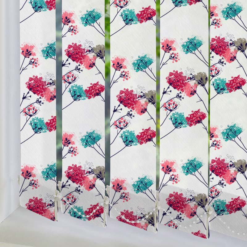 Springtime Berry Blue 89mm Vertical Blind Slats
