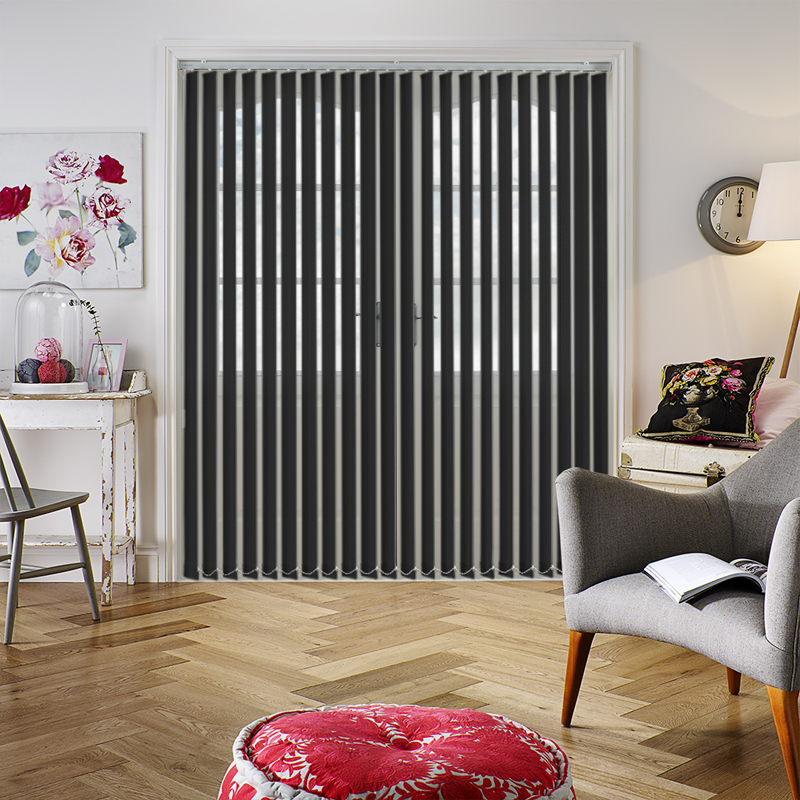 Candy Stripe Black 89mm Vertical Blind Slats