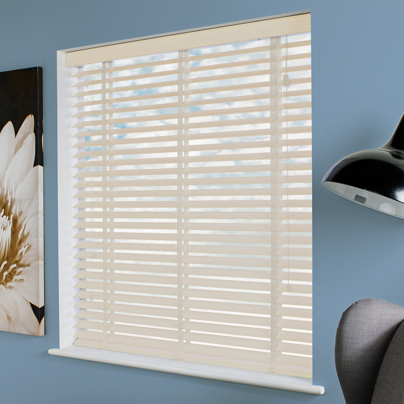 Ecostyle 50mm Taped Faux Ivory Embossed Wooden Blind