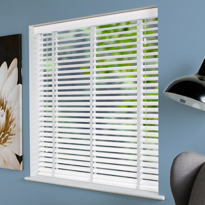 Impressions 50mm Taped White Faux Wood Direct Blinds