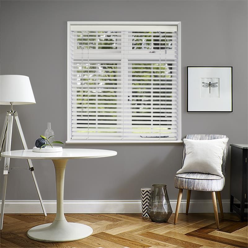 Premier 50mm Embossed Cotton White Faux Wood Direct Blinds
