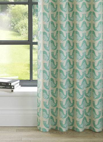 Curtains Scandi Birds Aqua