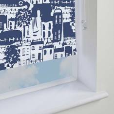 Electric Roller Blinds Whitby Blackout PVC Navy Blue