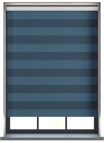 Electric Roller Blinds Midas Stripe Blackout Sapphire Blue