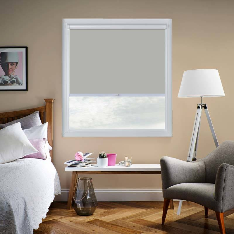 genesis blackout luxe mid grey perfect fit roller blind. Black Bedroom Furniture Sets. Home Design Ideas