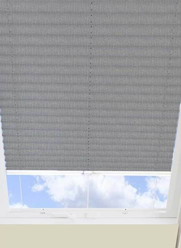 Pleated Skylight Blinds Ribbons Solar Pewter