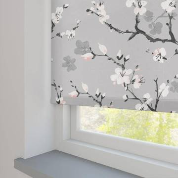 Roller Blinds Cherry Blossom Blackout Serenity Grey