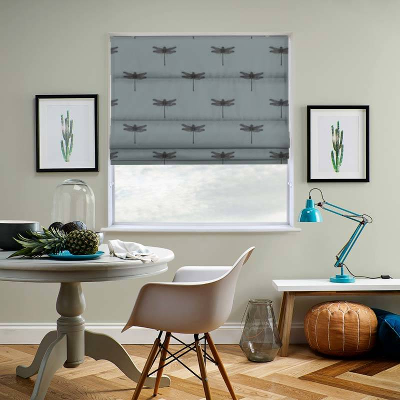 Dragonfly Mineral Blue Roman Blind Direct Blinds