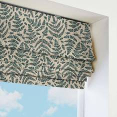 Roman Blinds Fern Leaves Prussian Blue