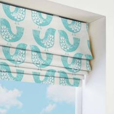 Roman Blinds Scandi Birds Aqua